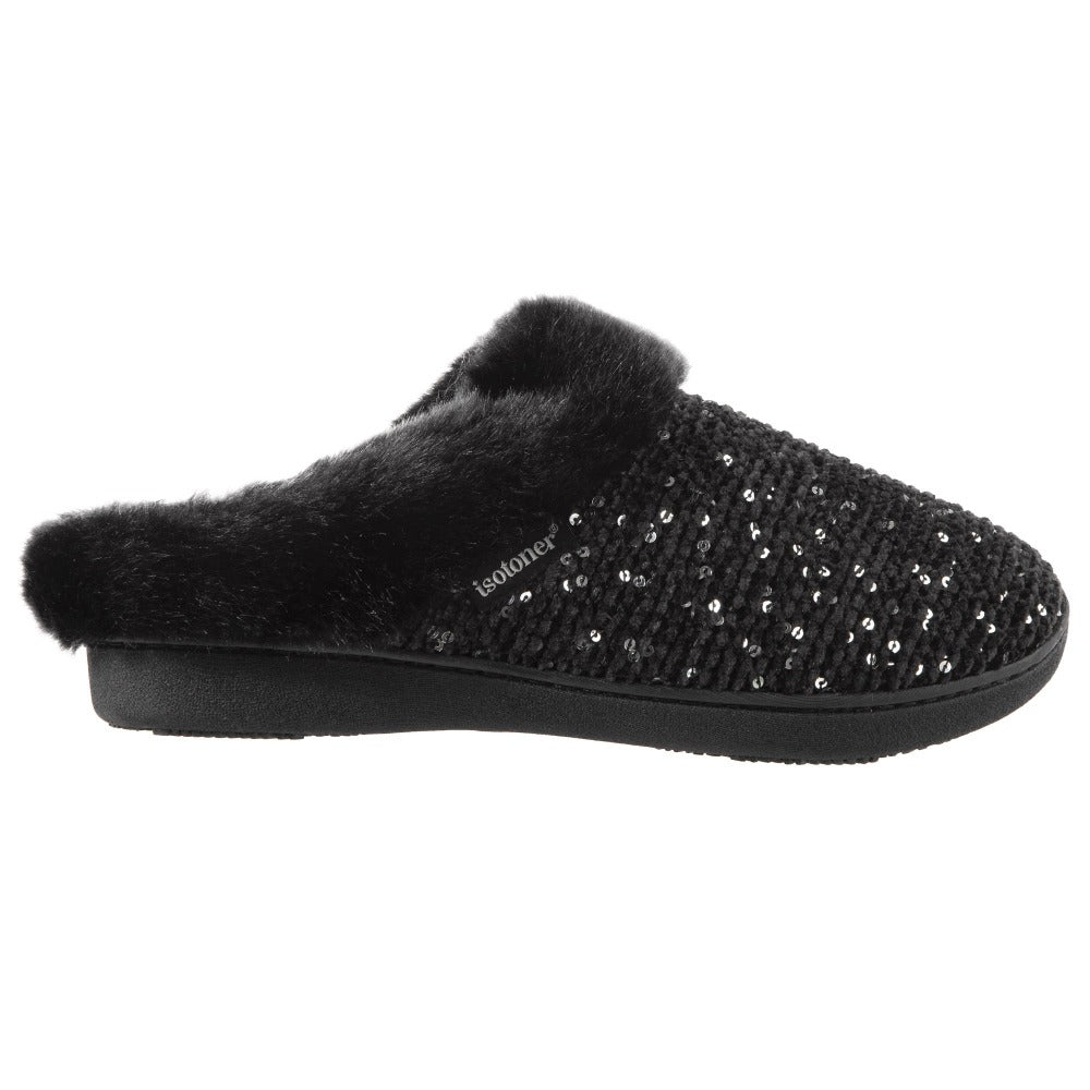 Women's Sequined Sweater Knit Hoodback Slippers Black 1
