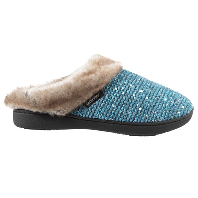 Women's Sequined Sweater Knit Hoodback Slippers Ewe 6