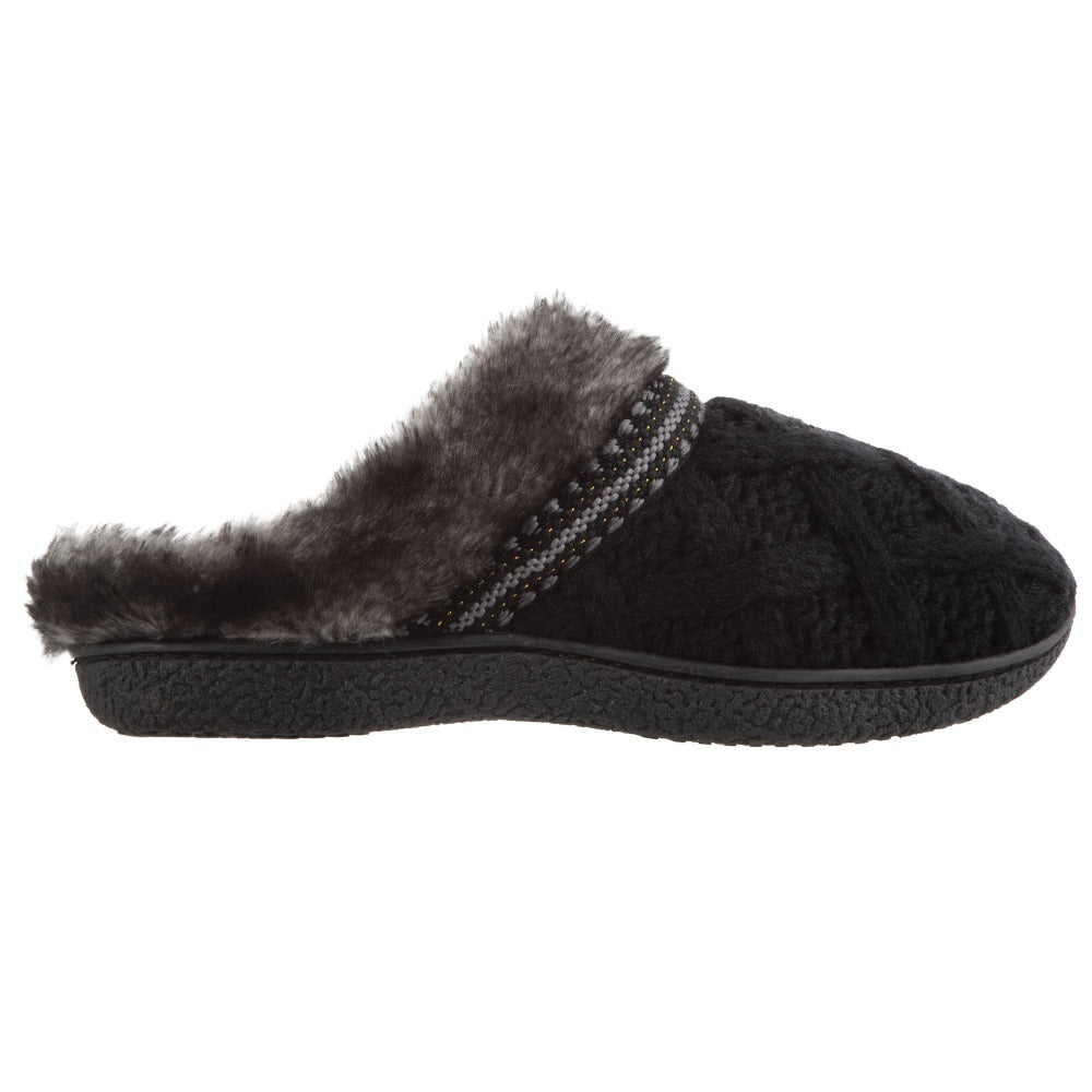 Women's Knit Tessa Hoodback Slippers in Black Profile