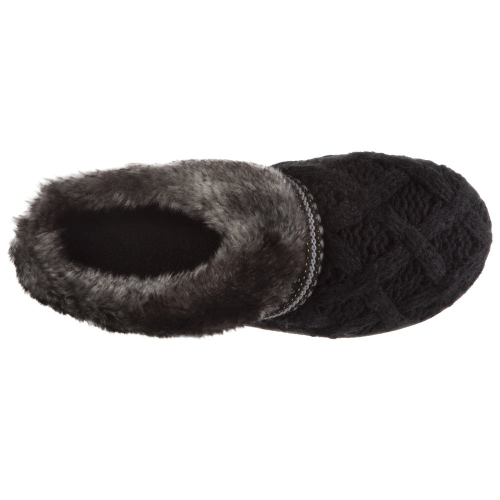 Women's Knit Tessa Hoodback Slippers in Black Inside Top View