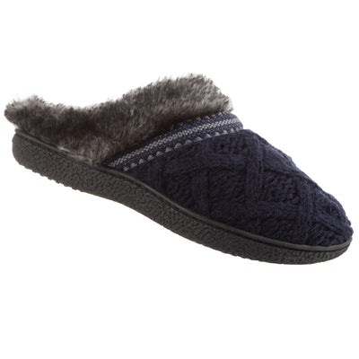 Women's Knit Tessa Hoodback Slippers in Navy Blue Right Angled View