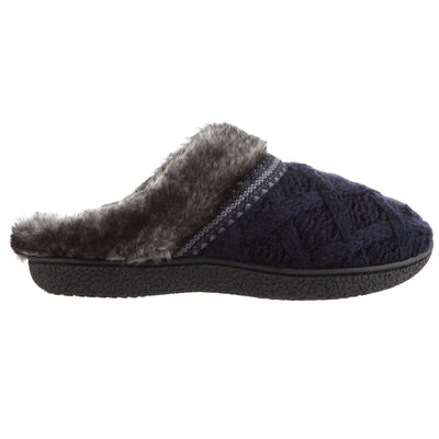 Women's Knit Tessa Hoodback Slippers in Navy Blue Profile