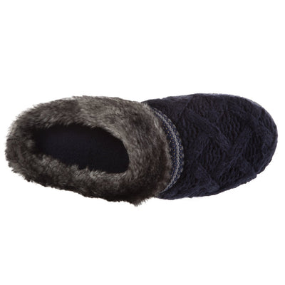 Women's Knit Tessa Hoodback Slippers in Navy Blue Inside Top View