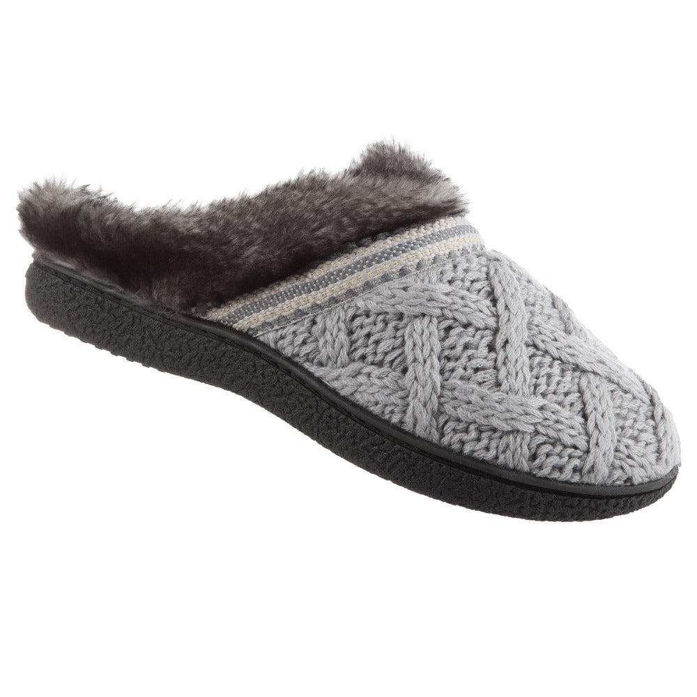Women's Knit Tessa Hoodback Slippers in Stormy Grey Right Angled View