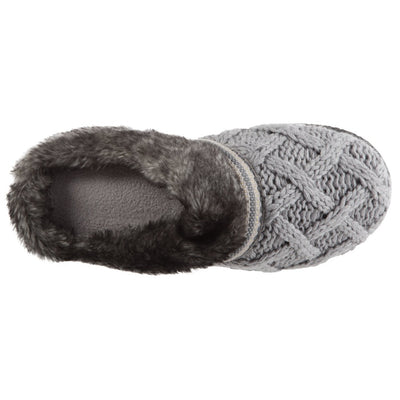 Women's Knit Tessa Hoodback Slippers in Stormy Grey Inside Top View
