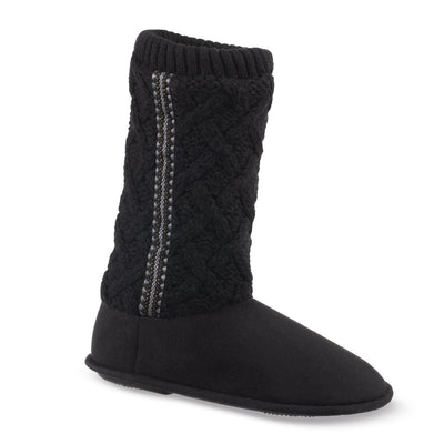 Women's Tessa Knit Tall Bootie Slippers in Black Right Angled View