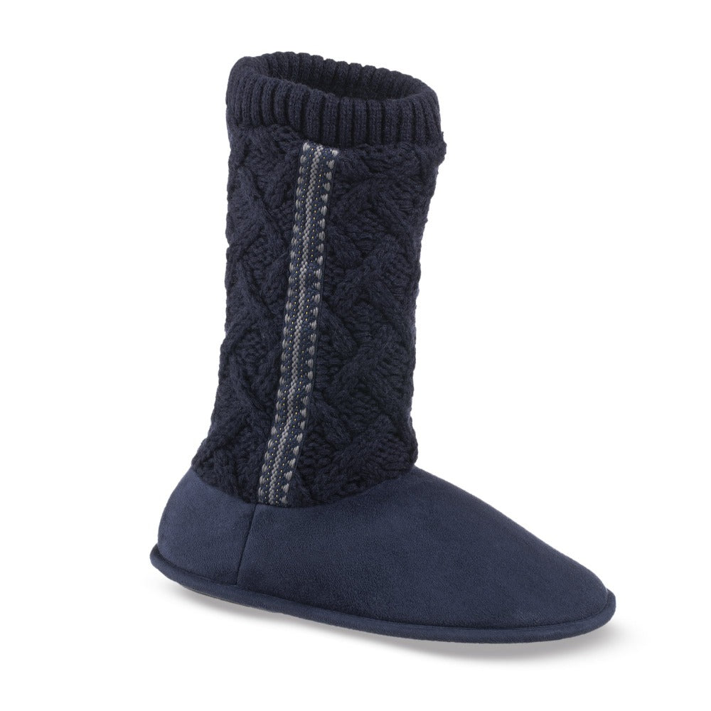 Women's Tessa Knit Tall Bootie Slippers in Navy Right Angled View
