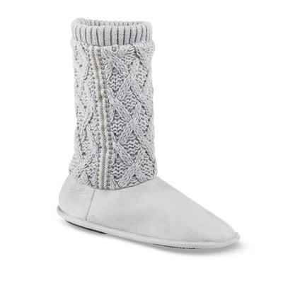 Women's Tessa Knit Tall Bootie Slippers in Stormy Grey Right Angled View