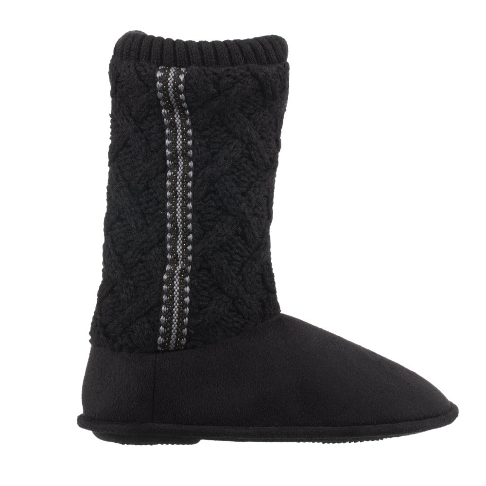 Women's Tessa Knit Tall Bootie Slippers Black Profile