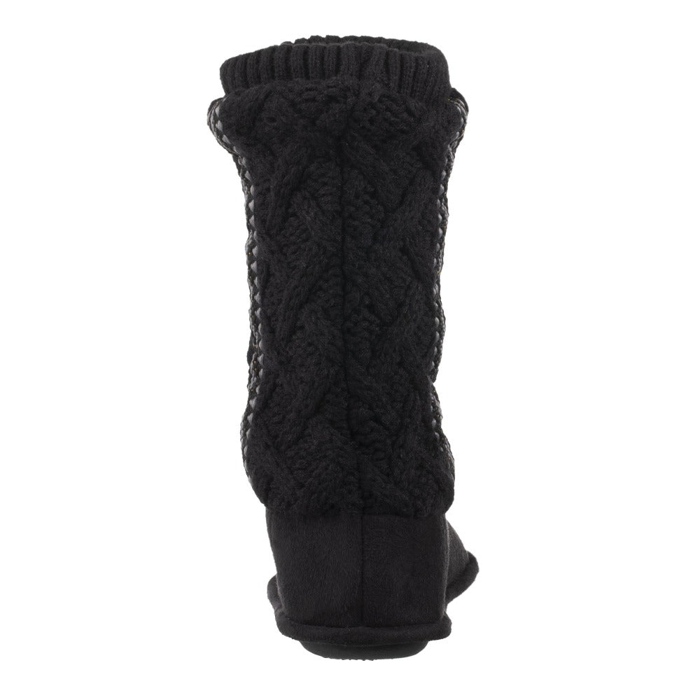 Women's Tessa Knit Tall Bootie Slippers Black Back Heel