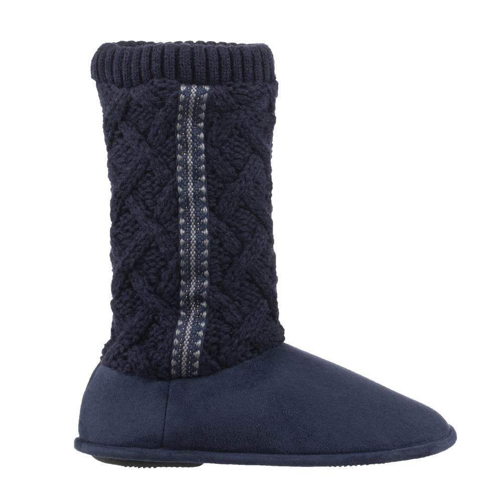 Women's Tessa Knit Tall Bootie Slippers Navy Profile
