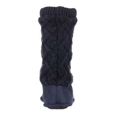 Women's Tessa Knit Tall Bootie Slippers Navy Back Heel