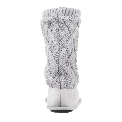 Women's Tessa Knit Tall Bootie Slippers Stormy Grey Back Heel