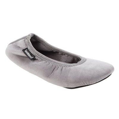 Women's Velour Victoria Ballerina Slippers in Ash Right Angled View