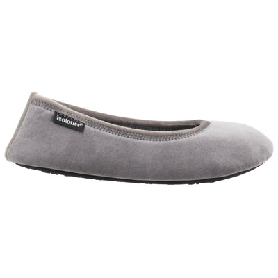 Women's Victoria Velour Ballerina Slippers Ash Profile