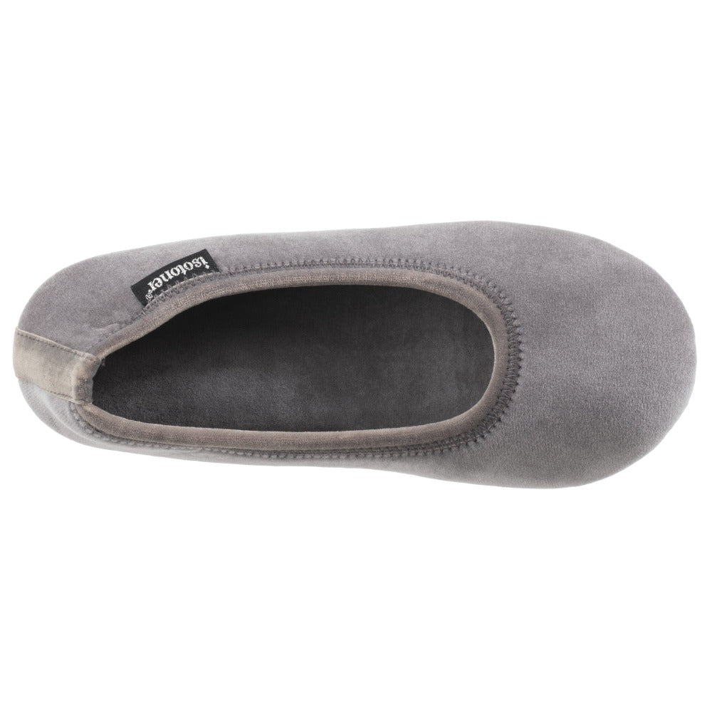 Women's Victoria Velour Ballerina Slippers Ash Inside Top View