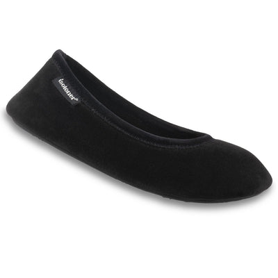 Women's Velour Victoria Ballerina Slippers in Black Right Angled View