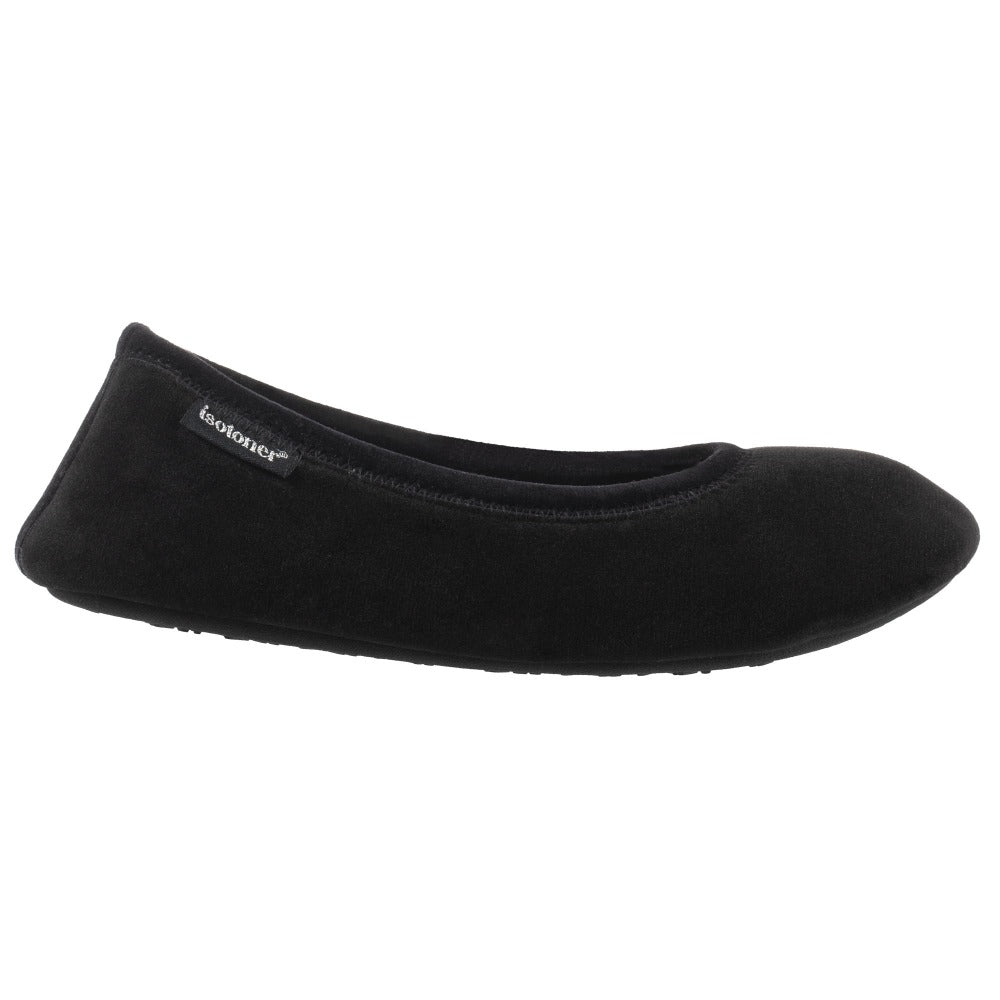 Women's Victoria Velour Ballerina Slippers Black Profile