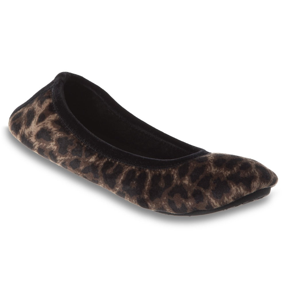 Women's Velour Victoria Ballerina Slippers in Cheetah Right Angled View