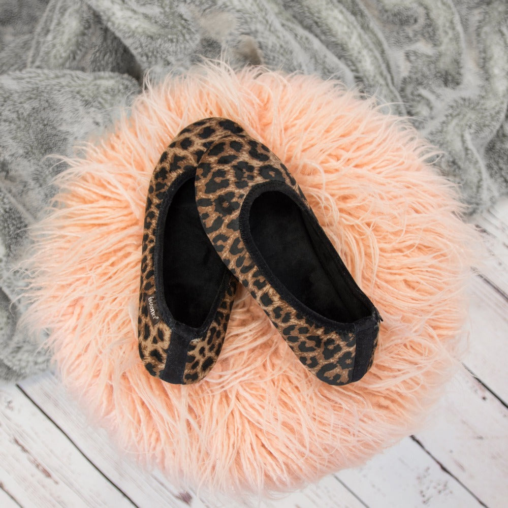 Women's Velour Victoria Ballerina Slippers in Cheetah still of fur stool