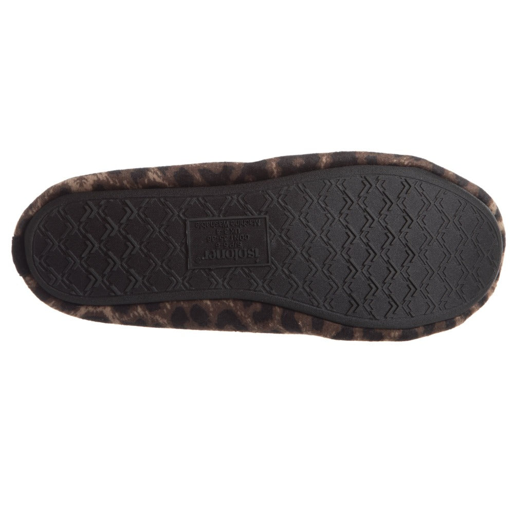 Women's Victoria Velour Ballerina Slippers Cheetah Bottom Sole Tread