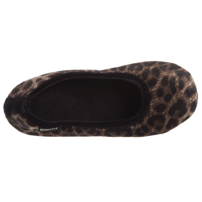 Women's Victoria Velour Ballerina Slippers Cheetah Inside Top View
