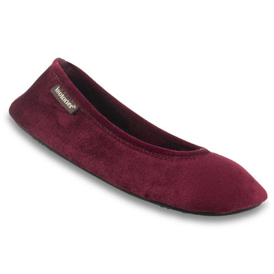 Women's Velour Victoria Ballerina Slippers in Henna (Maroon) Right Angled View