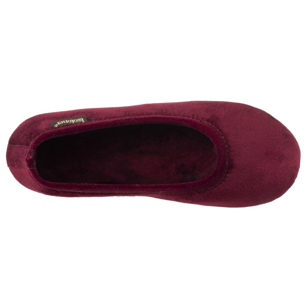 Women's Victoria Velour Ballerina Slippers Henna (Maroon) Inside Top View