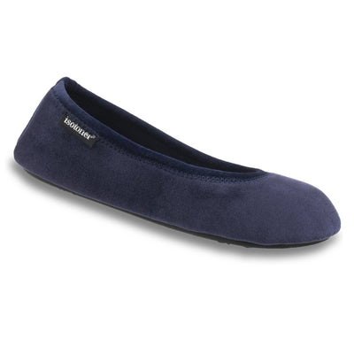 Women's Velour Victoria Ballerina Slippers in Navy Blue Right Angled View