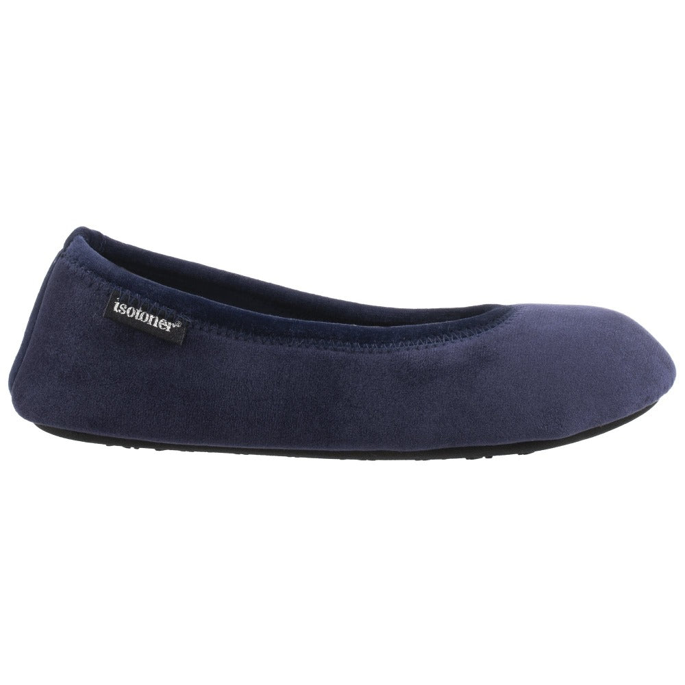 Women's Victoria Velour Ballerina Slippers Navy Blue Profile