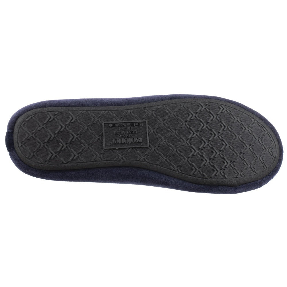 Women's Victoria Velour Ballerina Slippers Navy Blue Bottom Sole Tread