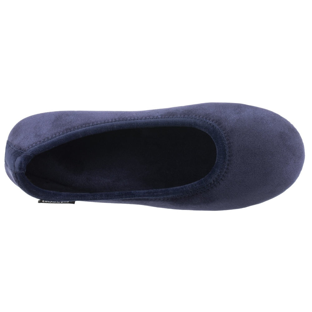Women's Victoria Velour Ballerina Slippers Navy Blue Inside Top View