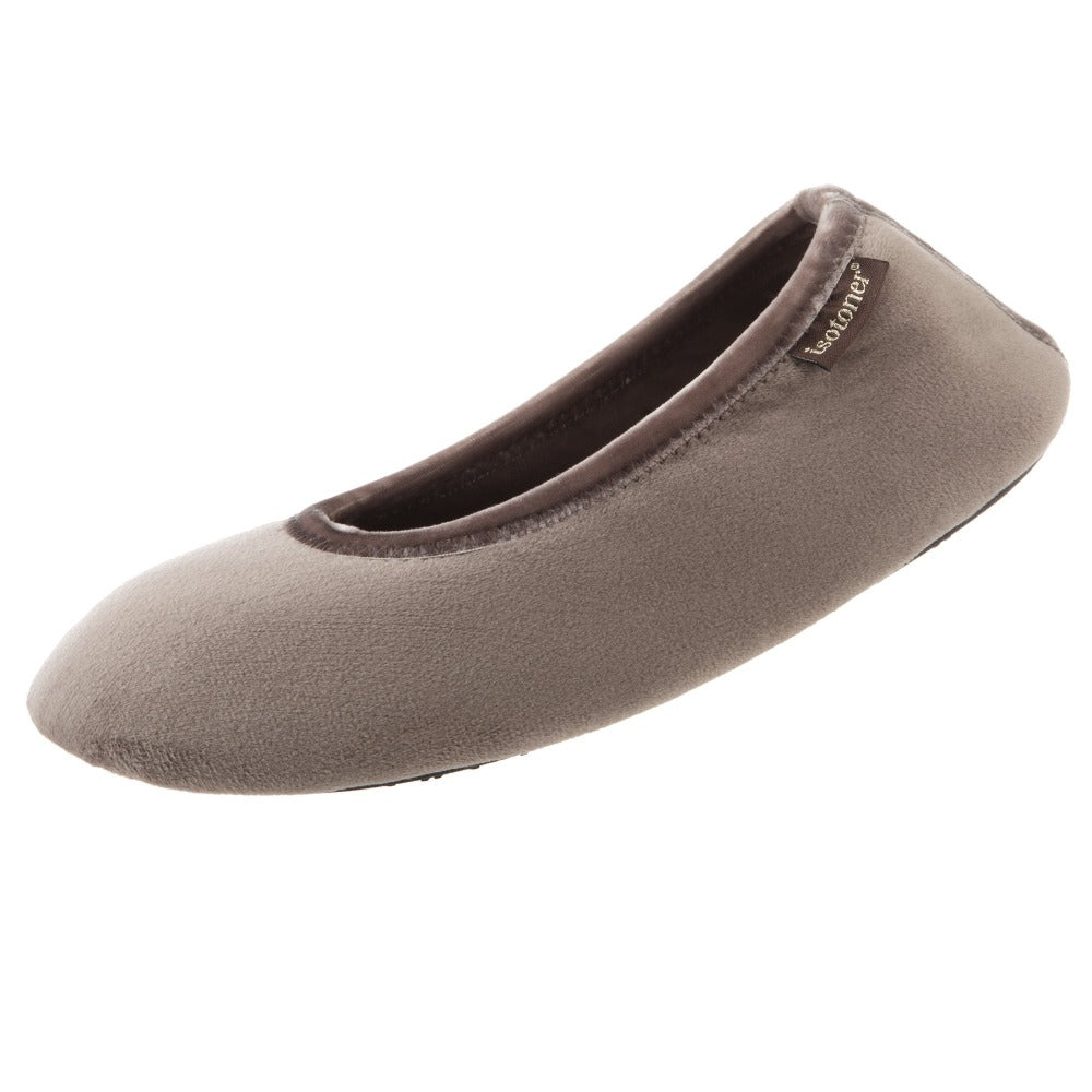 Women's Velour Victoria Ballerina Slippers in Taupe Right Angled View