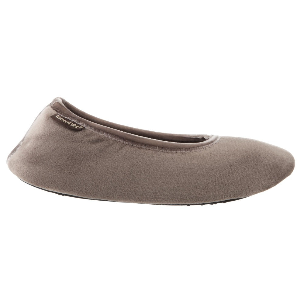 Women's Victoria Velour Ballerina Slippers Taupe Profile