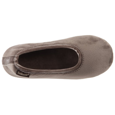 Women's Victoria Velour Ballerina Slippers Taupe Inside Top View