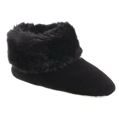 Women's Stretch Velour Sabrine Bootie Slippers in Black Right Angled View