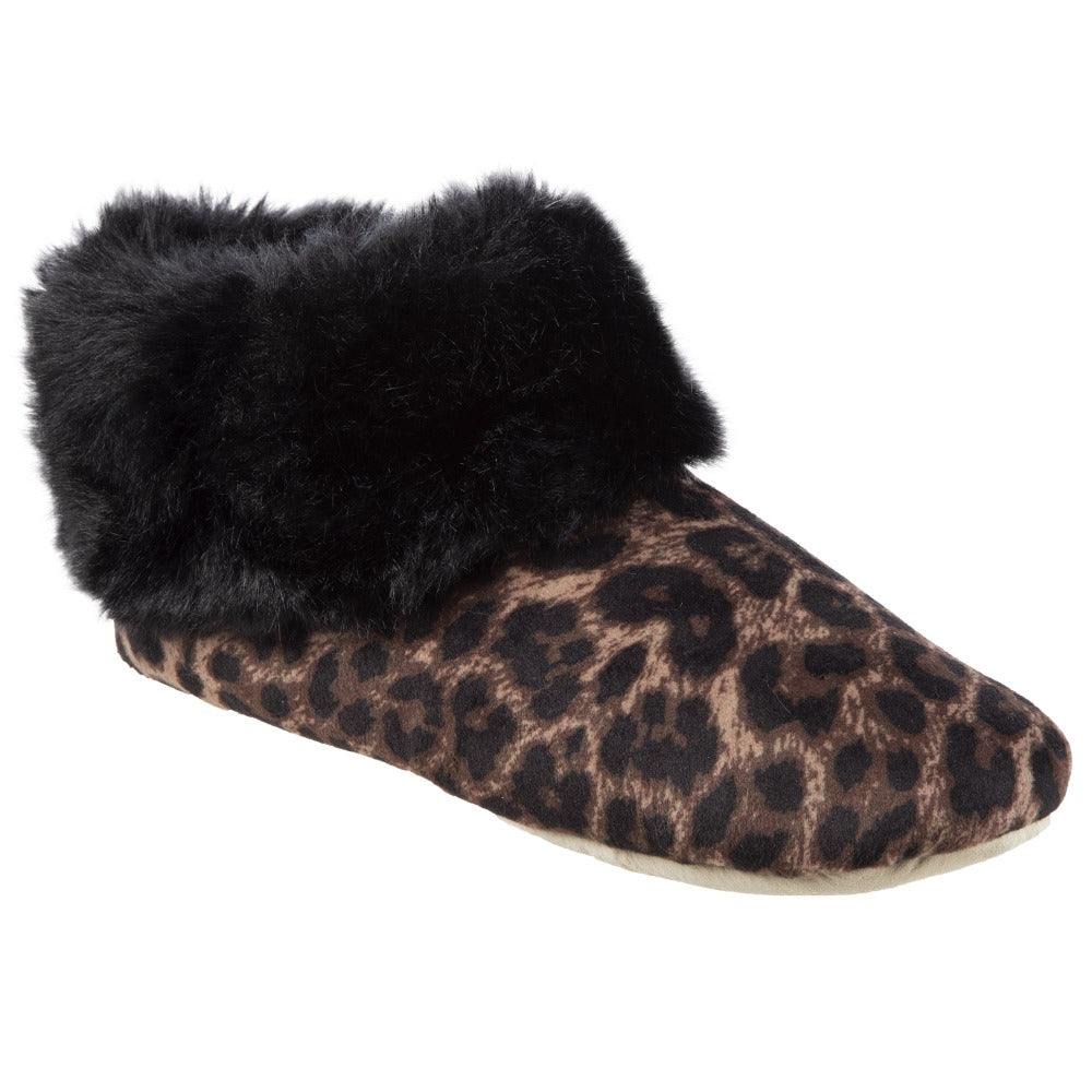 Women's Stretch Velour Sabrine Bootie Slippers in Cheetah Right Angled View