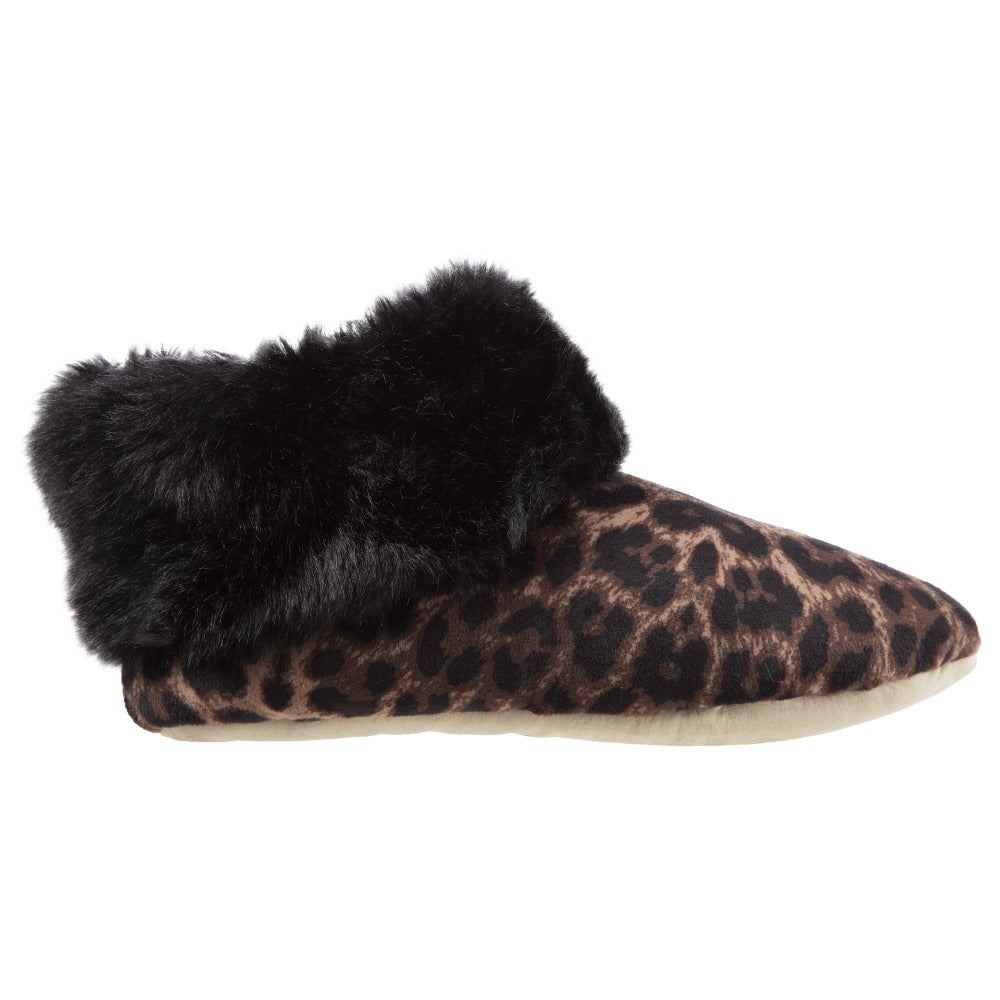 Women's Stretch Velour Sabrine Bootie Slippers in Cheetah Profile