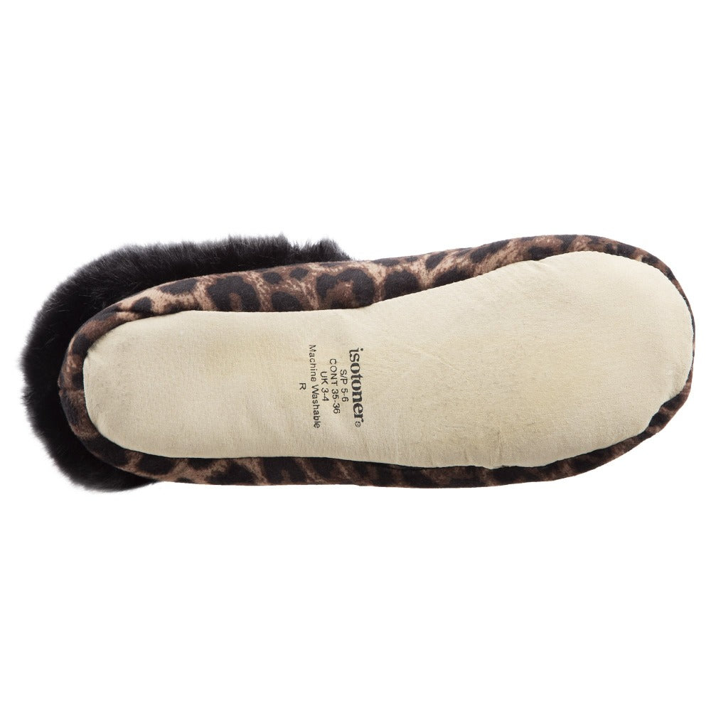 Women's Stretch Velour Sabrine Bootie Slippers in Cheetah Bottom Sole Tread