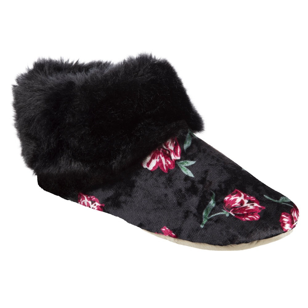 Women's Stretch Velour Sabrine Bootie Slippers in Floral Right Angled View