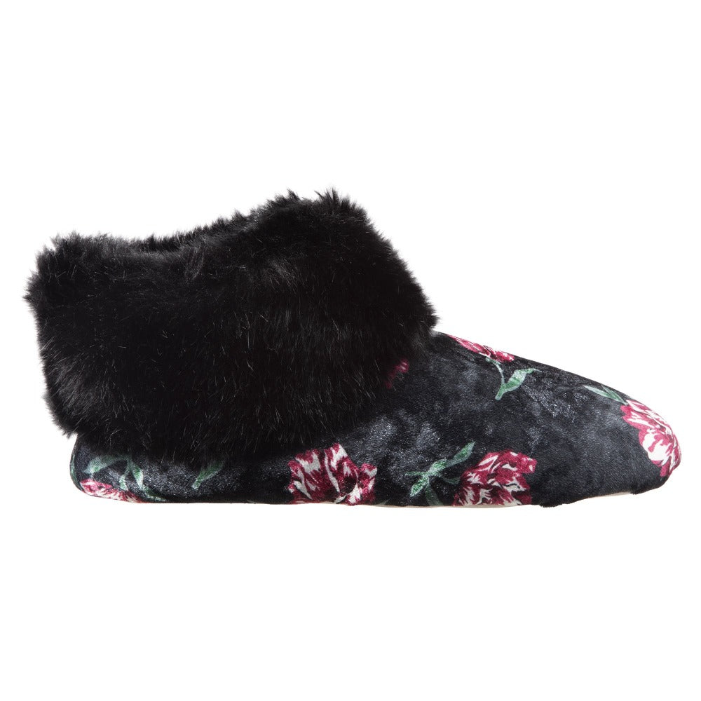 Women's Stretch Velour Sabrine Bootie Slippers in Floral Profile