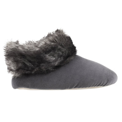 Women's Stretch Velour Sabrine Bootie Slippers in Mineral Profile