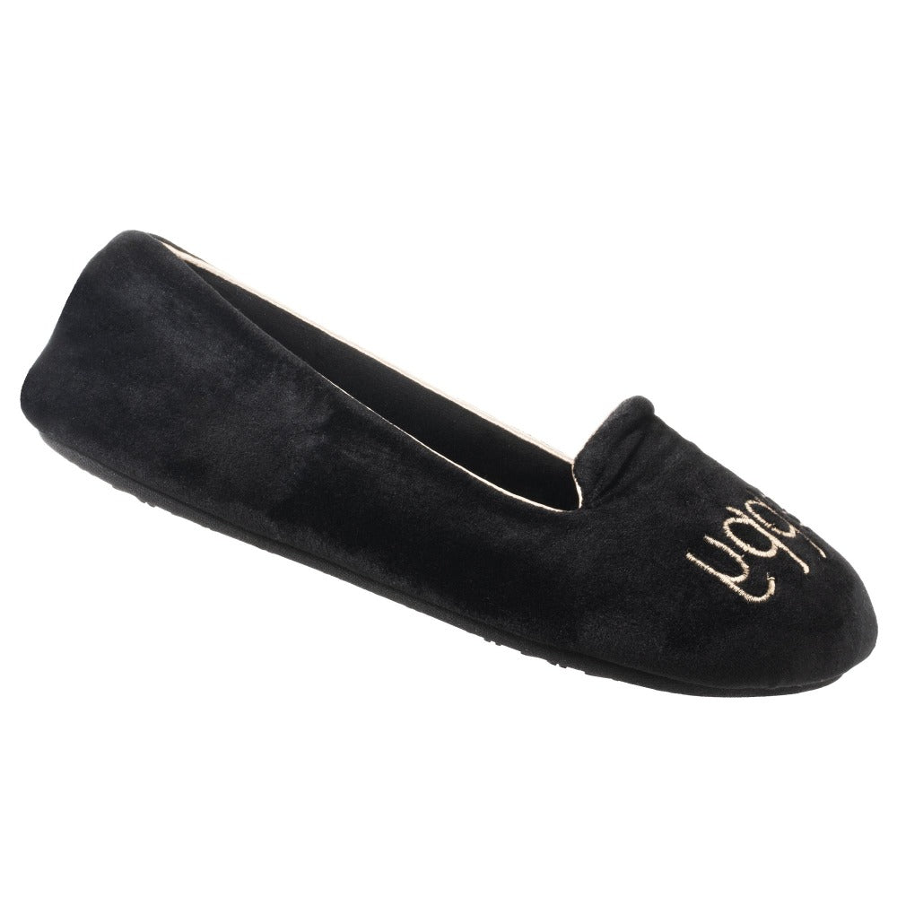 Women's Velour Conversational Smoking Slippers in Black Bee Happy Right Angled View