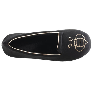 Women's Velour Conversational Smoking Slippers Black Inside Top View