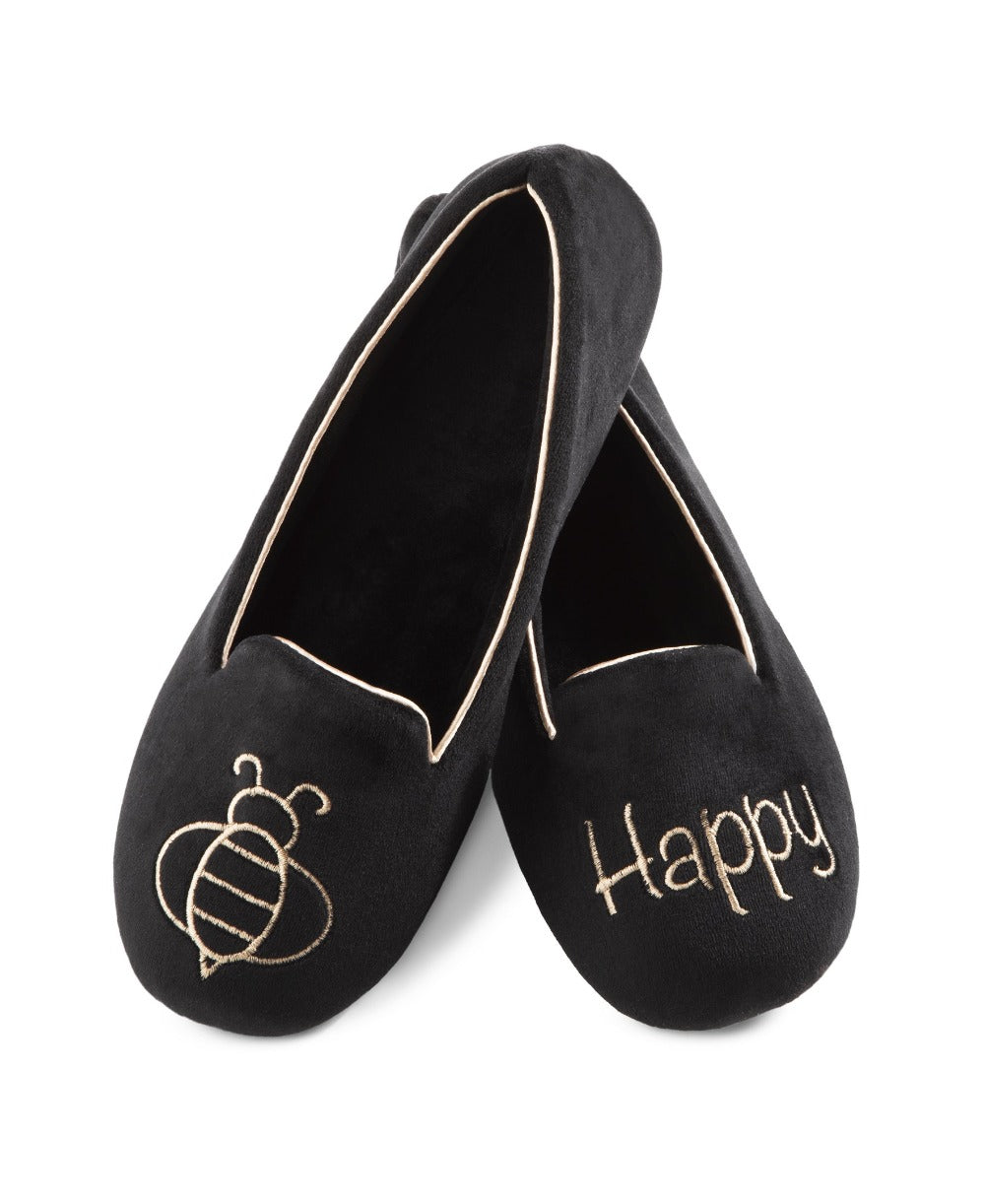 "Women's Velour Conversational Smoking Slippers Pair in Black one slipper has an illustration of a Bee the other says ""Happy"""