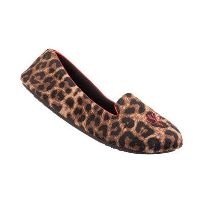 Women's Velour Conversational Smoking Slippers in Cheetah Cat Nap Right Angled View