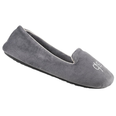 Women's Velour Conversational Smoking Slippers in Mineral Cat Nap Right Angled View