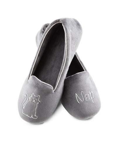 "Women's Velour Conversational Smoking Slippers Pair in Mineral one slipper has an illustration of a Cat, the other says ""Nap"""