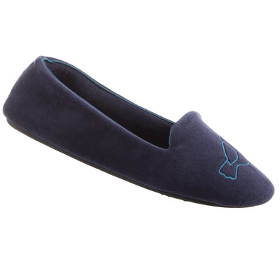 Women's Velour Conversational Smoking Slippers in Navy Blue Love Birds Right Angled View