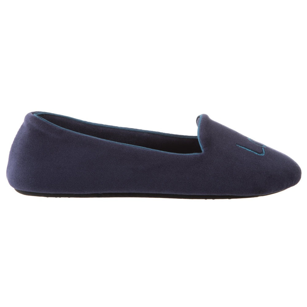 Women's Velour Conversational Smoking Slippers Navy Blue Profile